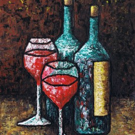 """Still Life With Wine"", Oil on Canvas, 14"" x 18"""