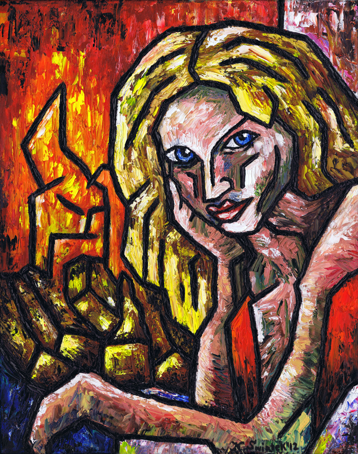"""Woman By The Fire (2012), Oil on Canvas, 16"""" x 20"""" x 1.5"""""""