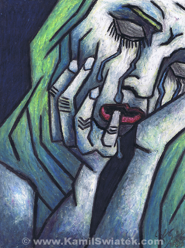 """Weeping Woman"", Oil Pastel on Paper, 10.58"" x 13.78"""