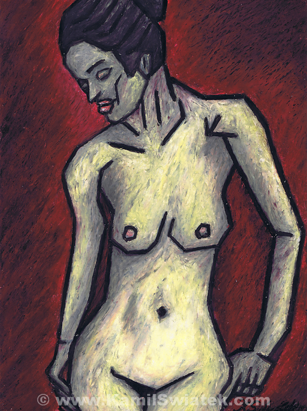"""Nude II"" (2010), Oil Pastel on Paper, 9"" x 12"""