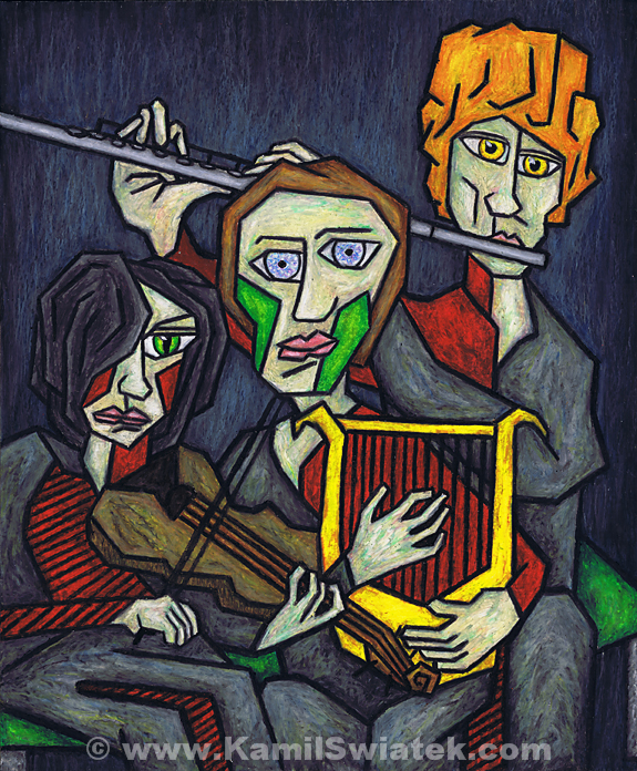 """Three Musicians"", Oil Pastel on Paper, 14"" x 17"""