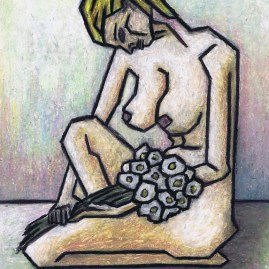 Nude with White Flowers (2005) by Kamil Swiatek