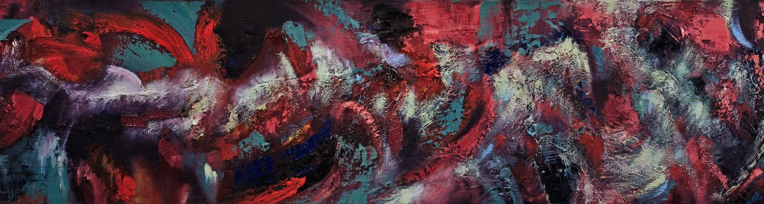 """Crashing Winter (2016-2018), Oil and Mixed Media on Canvas, 12"""" x 48"""""""