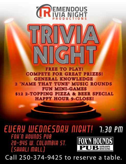Wednesday Night Trivia at Fox'N Hounds Pub