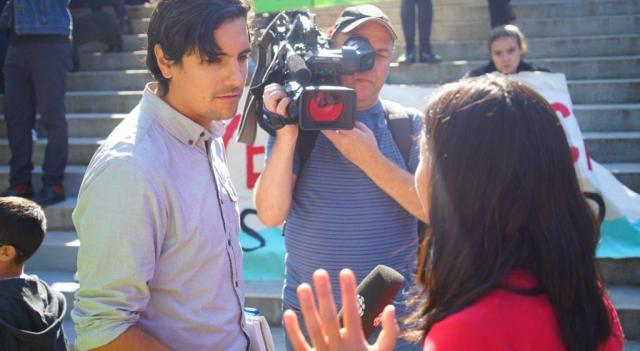 television interview at climate march