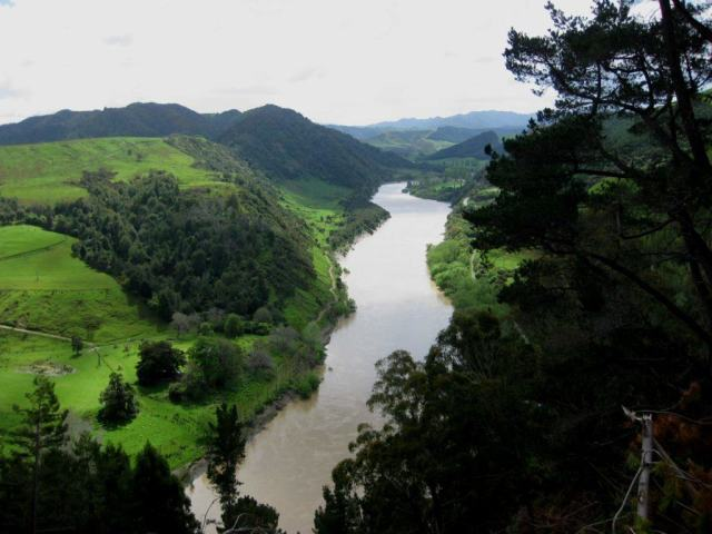 Overhead shot of Whanganui River in New Zealand
