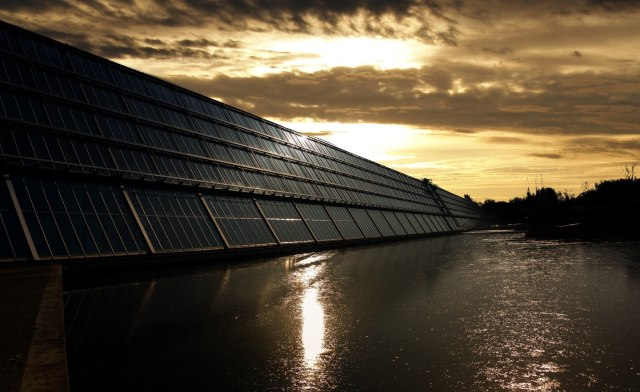 close up of solar panels in the dusk