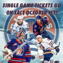 SINGLE GAME TICKETS ON SALE – OCTOBER 1 at 9:00am – Kamloops Blazers