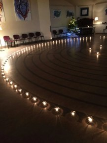 The labyrinth with welcoming candlelight for the winter Solstice labyrinth walk.