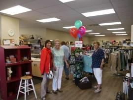 Thrift Store shopper Rose with volunteers Ingrid VT & Rose.