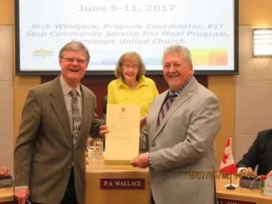 "We receive an official Proclamation Document from Deputy Mayor Wallace and the City of Kamloops proclaiming June 5 to 11, 2017 ""PIT Stop Community Outreach Program Week""."