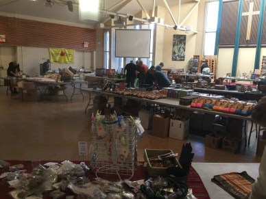 Ten Thousand Villages setting up the Fair Trade Craft Sale