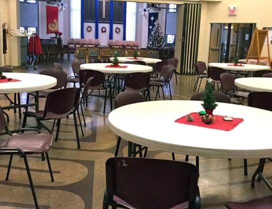 The cafe facing the sanctuary.