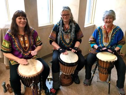 Una, Raven and Mona drumming us into the sanctuary.