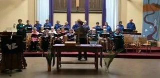 Beautiful music with handbells and choir.