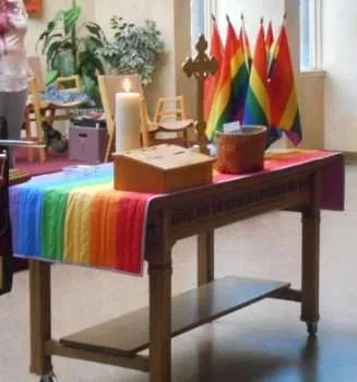 New rainbow communion table runner.
