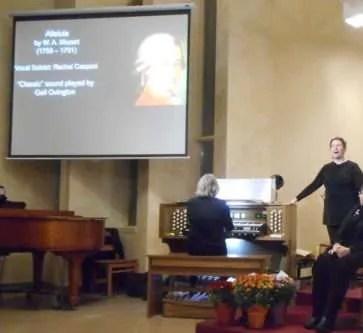 "Alleluia by W.A. Mozart. Vocal Solo by Rachel Casponi. Allen ""Classic"" pipe organ sound library in accompaniment - Gail Ovington."