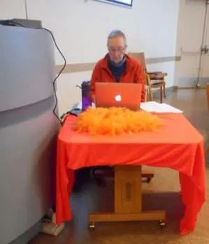 Our projectionist this Sunday, on Orange Shirt Day.