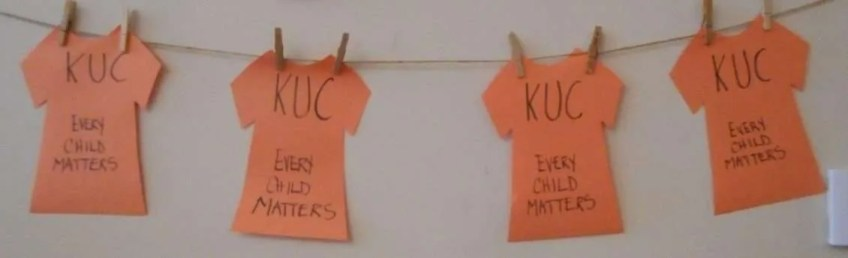Orange shirts on a clothes line.