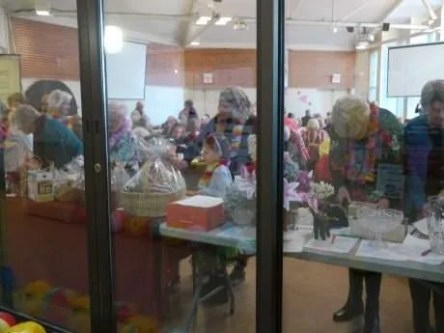 Silent auction table through the window!