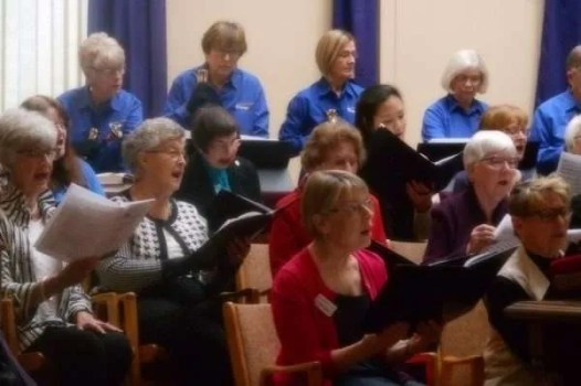 Voices and handbells together.