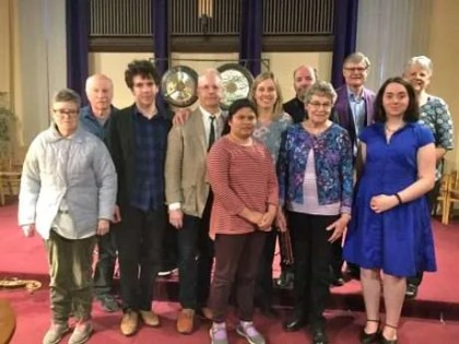 The Jazz Vespers Family: Mary, Bob, Alix, Wilf, Syd, Rob, Bruce, Lesly, (in front) Jane, Jean and Abby.