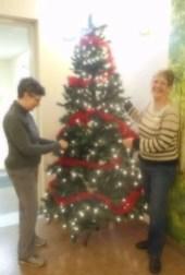 "Barb & Judy create a ""Welcome"" tree."