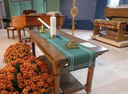 Communion Table with Christ Candle and Cross