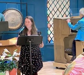 Rachel with Margaret on the organ.