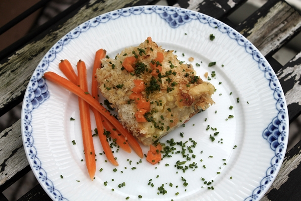 Fiskepie med torsk, spinat samt pastinak/kartoffelmos