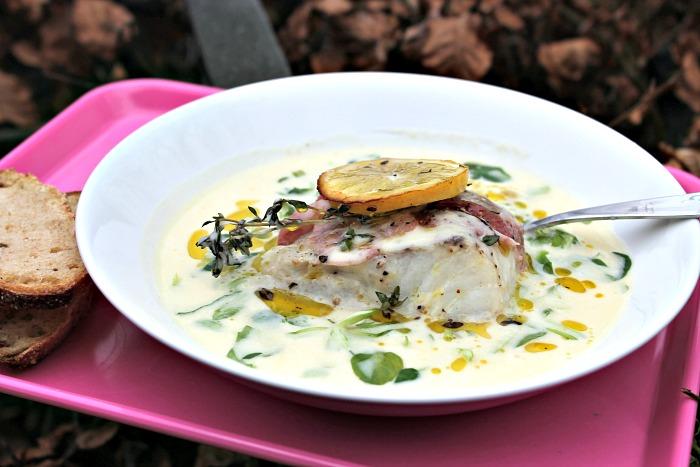Kartoffel-Porresuppe med torsk