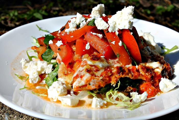 Grøntsagslasagne med aubergine, spinat og mozzarella