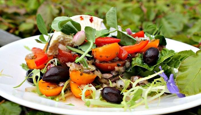 Salat med tomater, feta, løg, oliven samt ærteskud