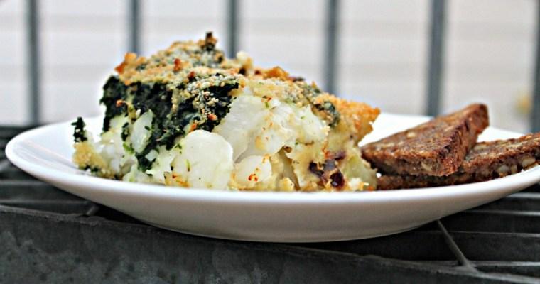 Fiskegratin med torsk,spinat,kartofler