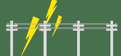 電線に落雷