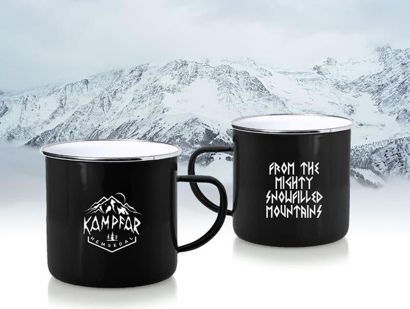 Kampfar - Hemsedal black enamel coffee cup
