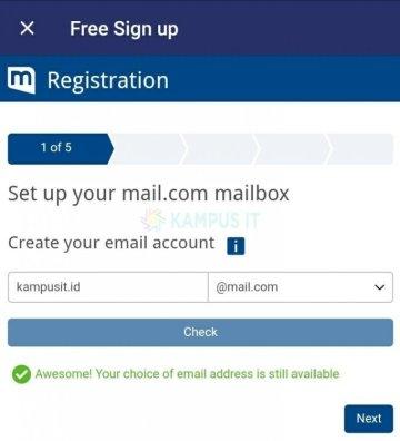 Cara membuat email Mailcom di Android