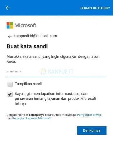 Membuat email Outlook di HP