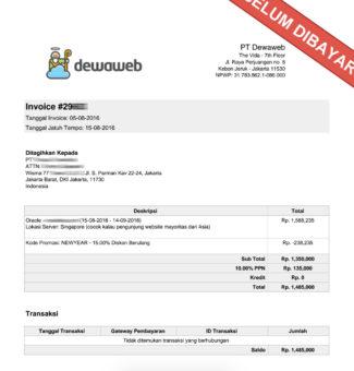 contoh invoice perusahaan hosting dewaweb