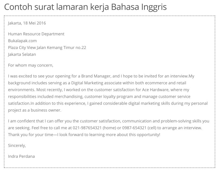 Contoh cover letter bahasa Inggris.