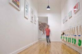 Hallway with art work