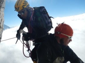 Cesar and Francesco during the first ascent of South Simvo North