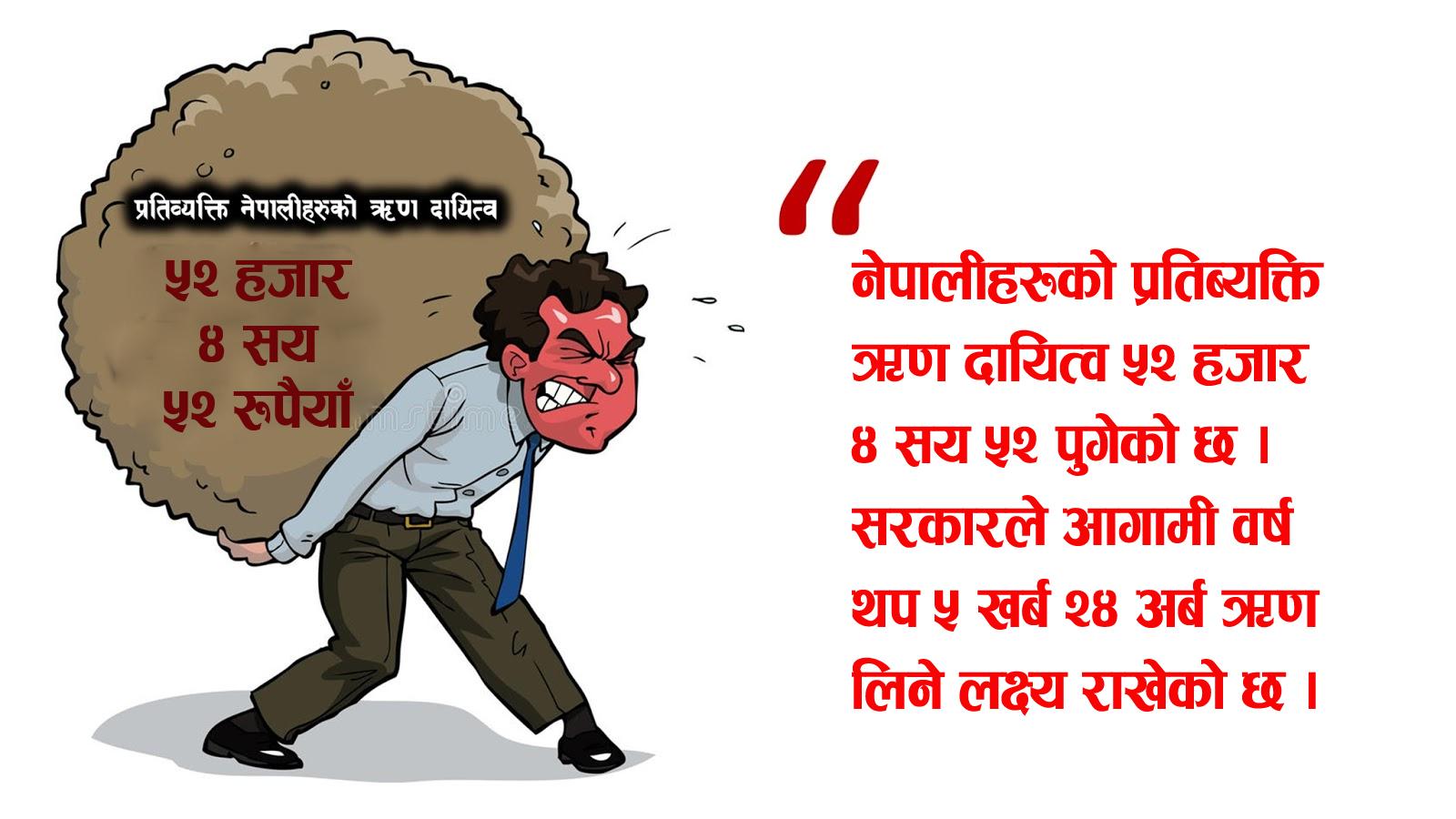 प्रत्येक नेपालीलाई ५ हजार रुपैयाँ ऋण थपियो