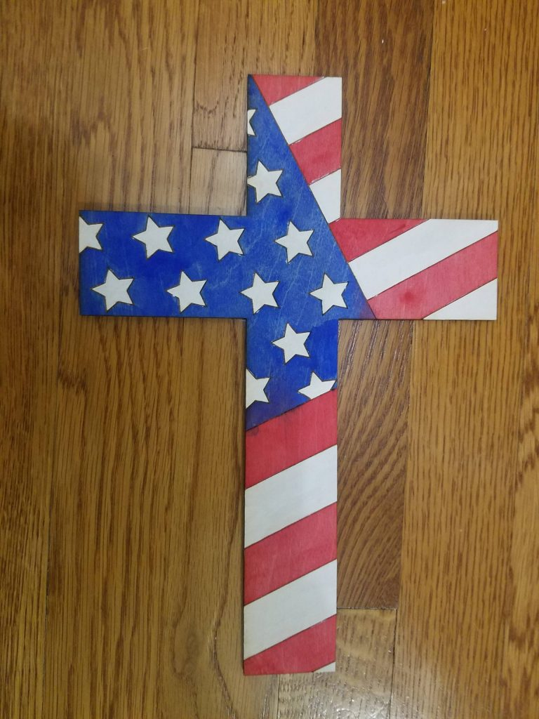 Read more about the article Wooden Cross With American Flag Design