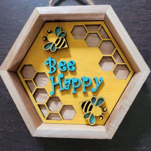 Bee Happy Wood Cut Out, Perfect For A Tier Tray