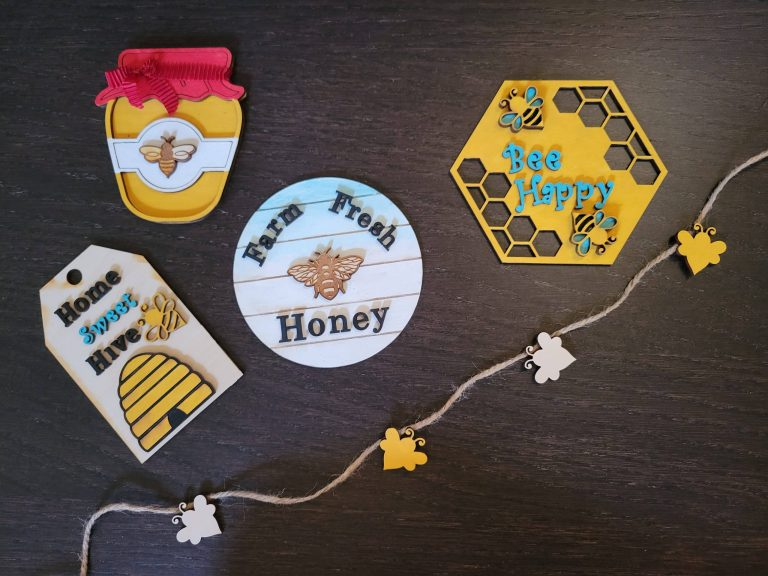 Read more about the article Part 1 Of Bee Theme Tier Tray Items – Wooden Cut Outs