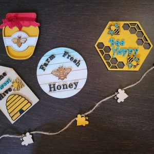 Finished Bee Theme Tier Tray Decor