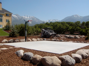 Basketball court and surround