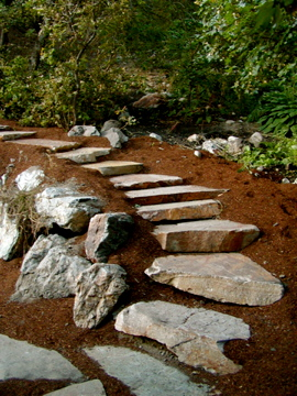 Path, steps and wall