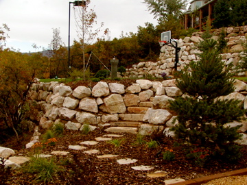 Boulder walls, stone stairs, stone paths